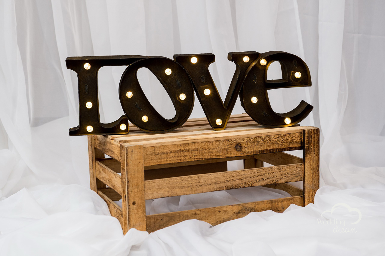 LOVE Marquee with Lights and Crate