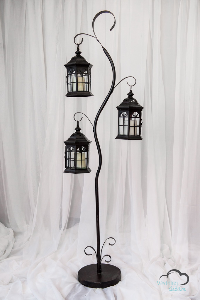 Tall Black Lantern 3-Tier Stand