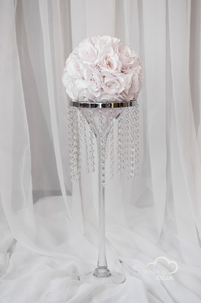 Tall Martini Vase Centerpiece with Bling Topper and Flower Ball