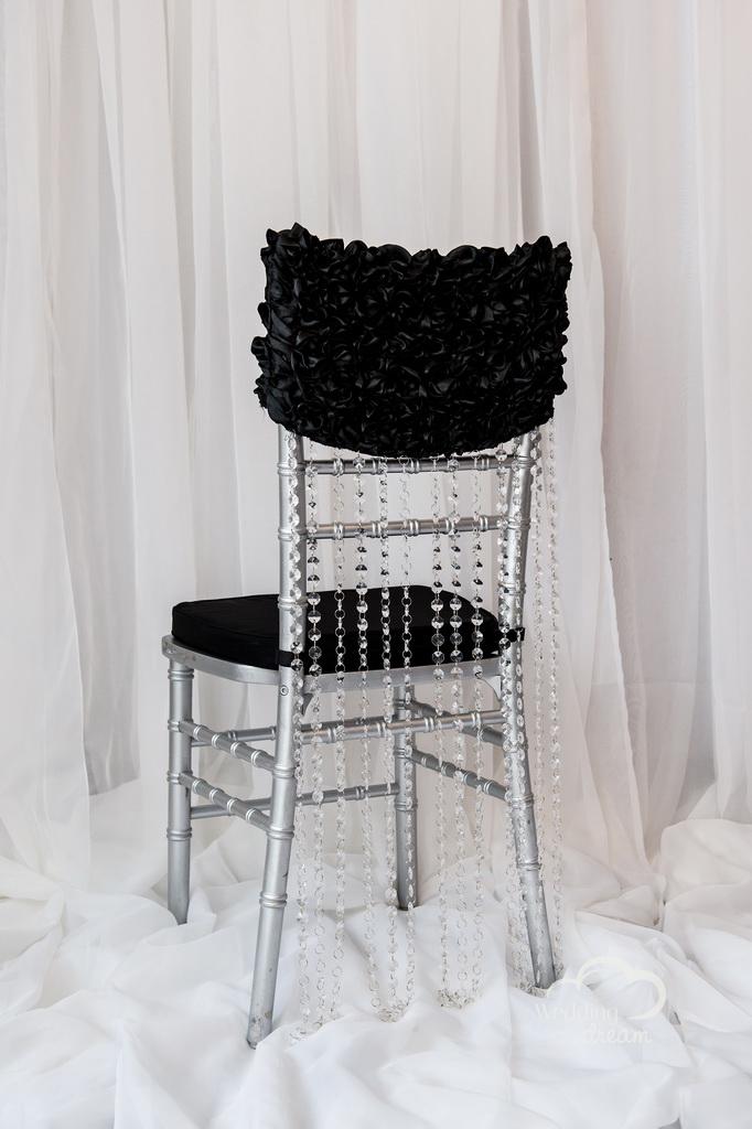 Black Chiavari Chair Cap with Acrylic Diamond Strand