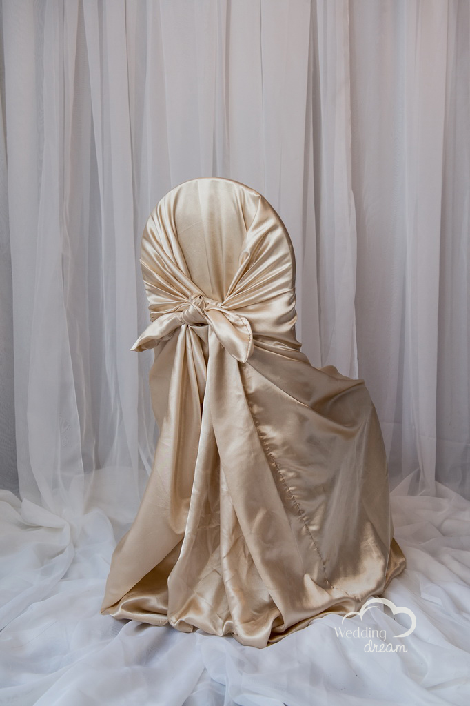 Champagne Satin Tie Back Universal Chair Cover