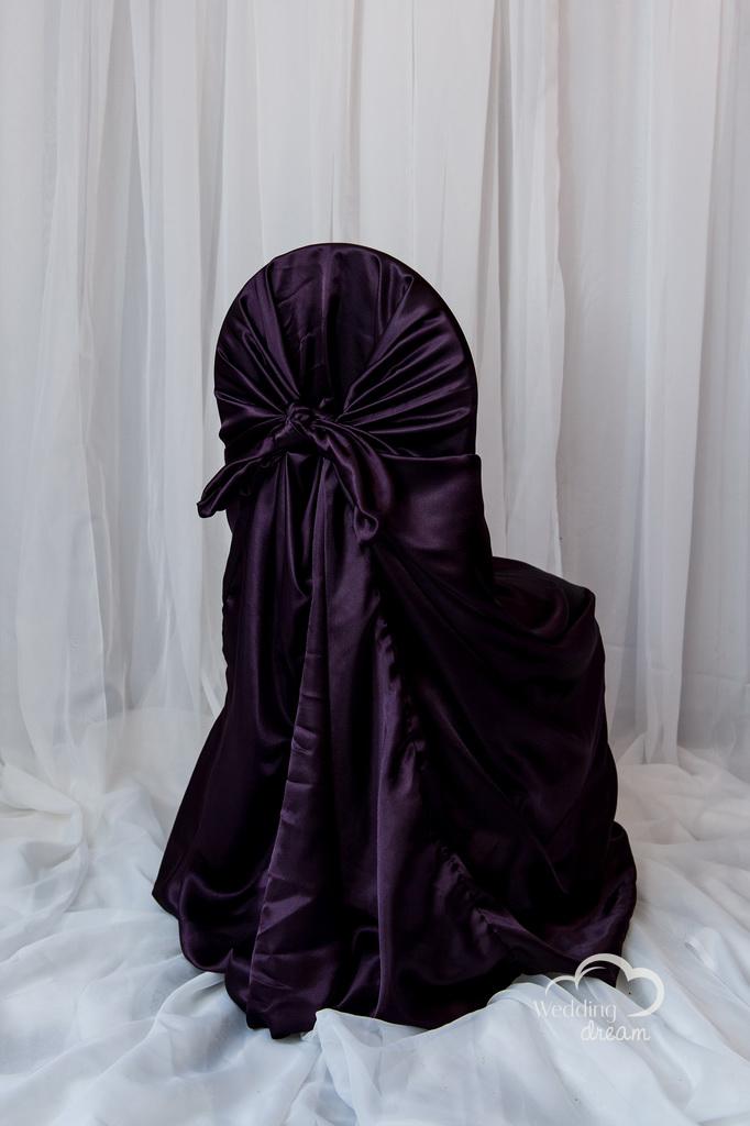Eggplant Purple Satin Tie Back Universal Chair Cover