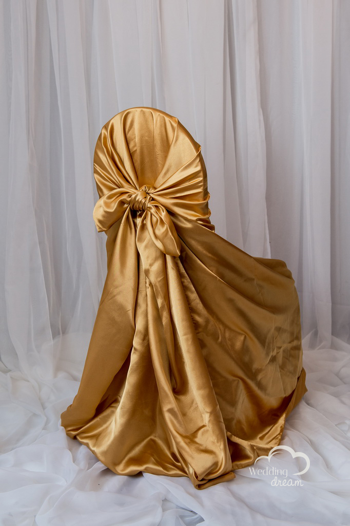 Gold Satin Tie Back Universal Chair Cover