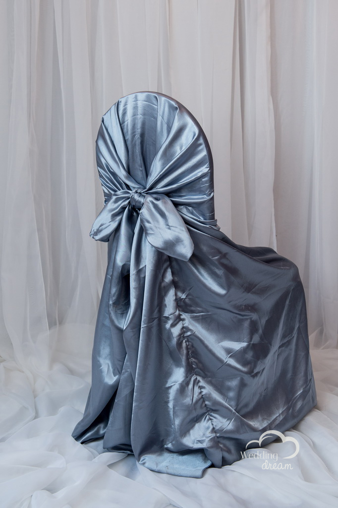 Grey Satin Tie Back Universal Chair Cover