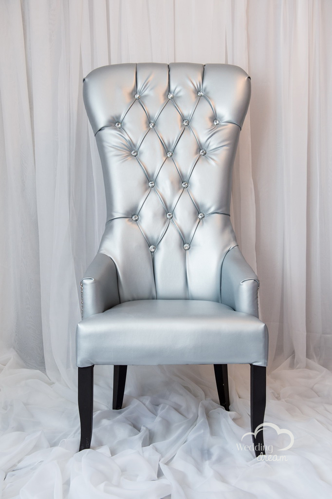 Silver Leather High Back Studded Chair