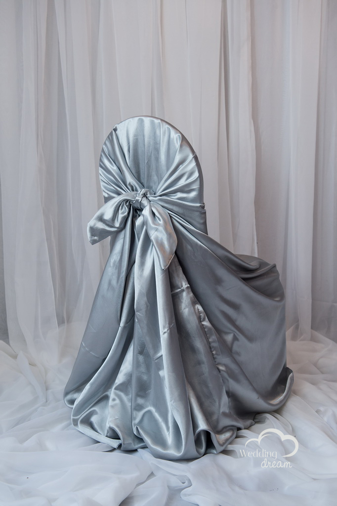 Silver Satin Tie Back Universal Chair Cover