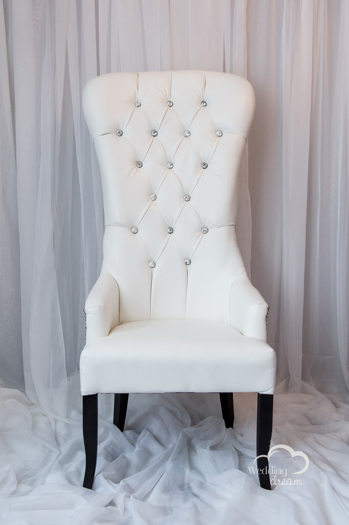 White Leather High Back Studded Chair