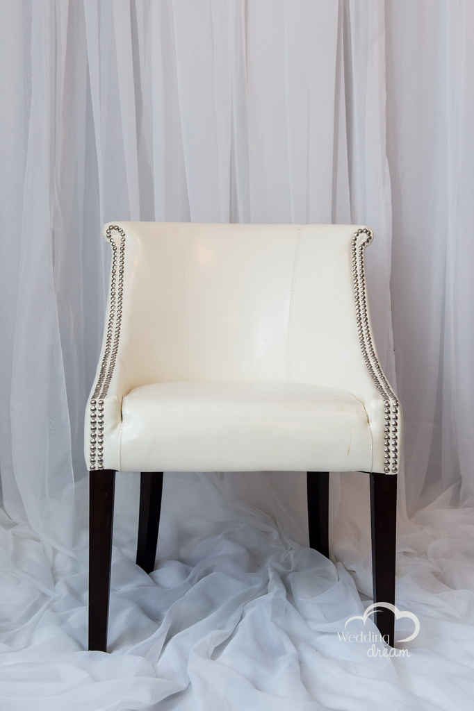 White Leather Studded Chair