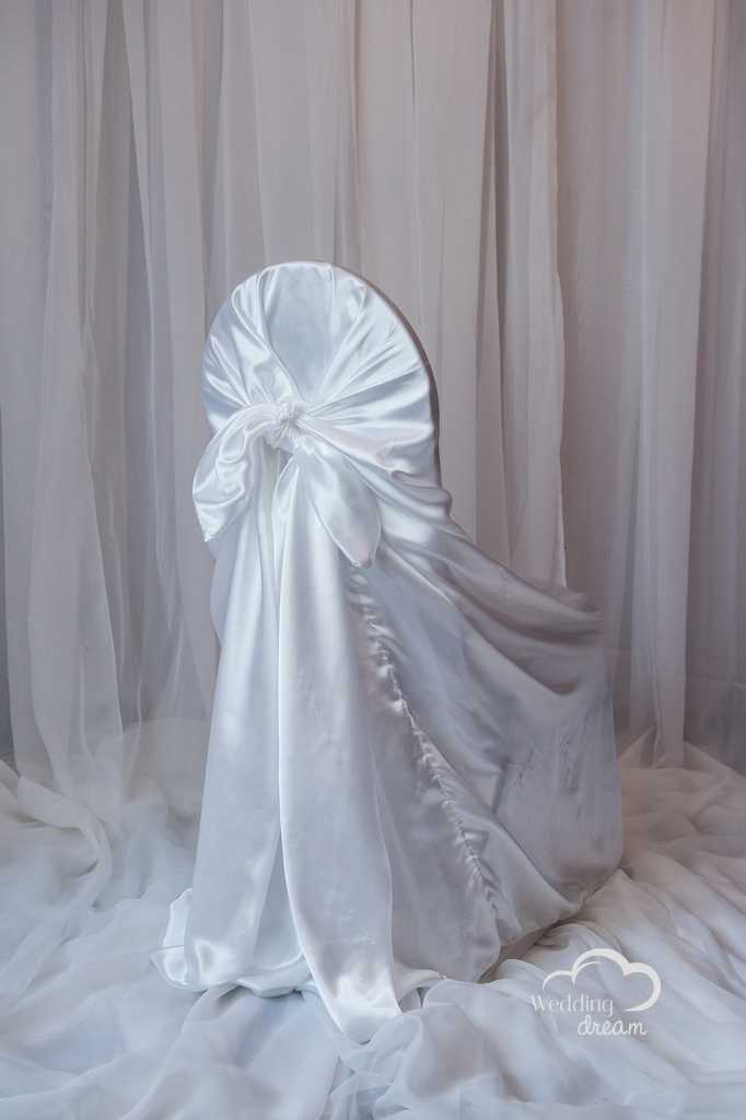 White Satin Tie Back Universal Chair Cover