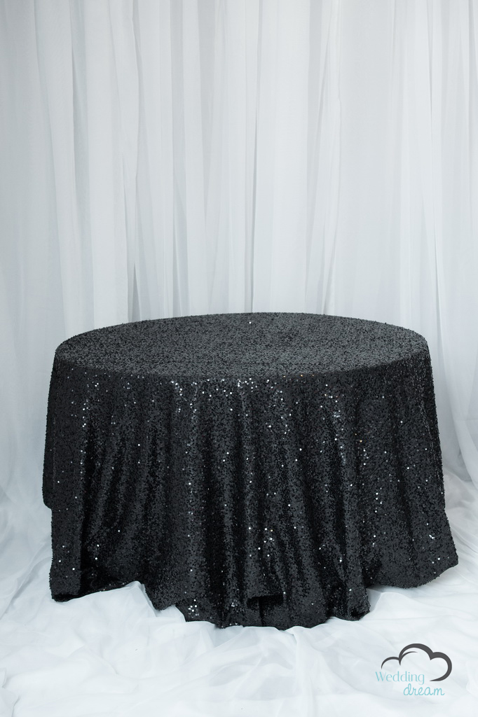 Black Sequins Table Cloth