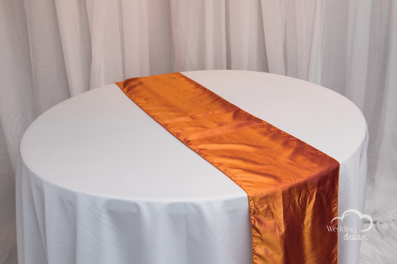Burnt Orange Taffeta Table Runner