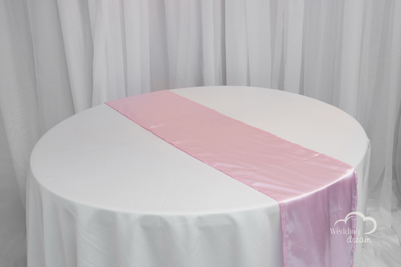 Pale Pink Satin Table Runner