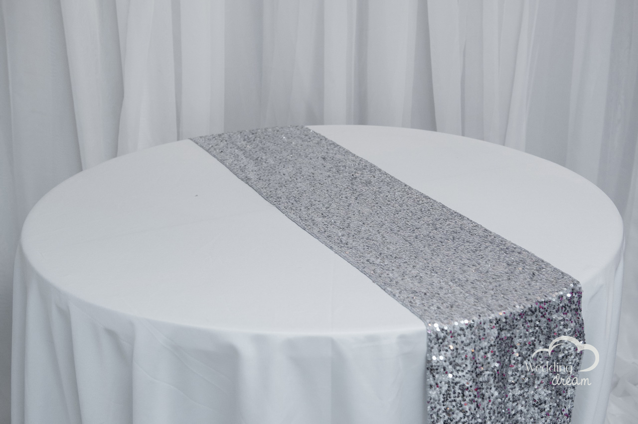 Silver Sequins Table Runner