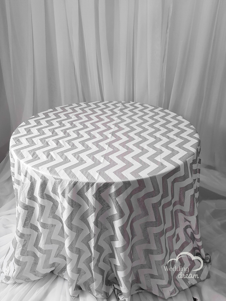 White and Silver Chevron Sequins Table Cloth