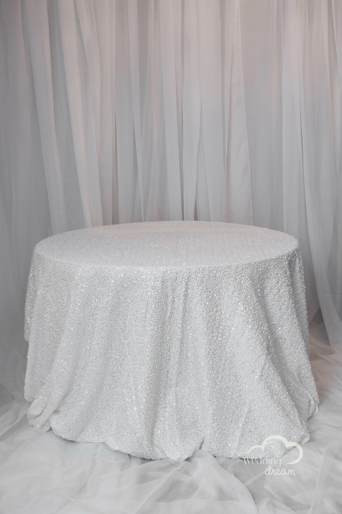 White Sequins Table Cloth
