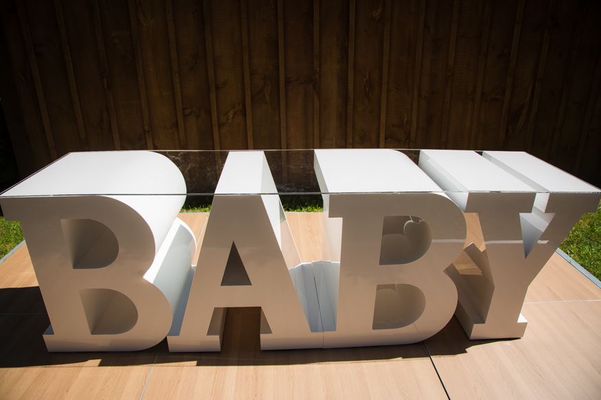 BABY marquee tanle with acrylic top