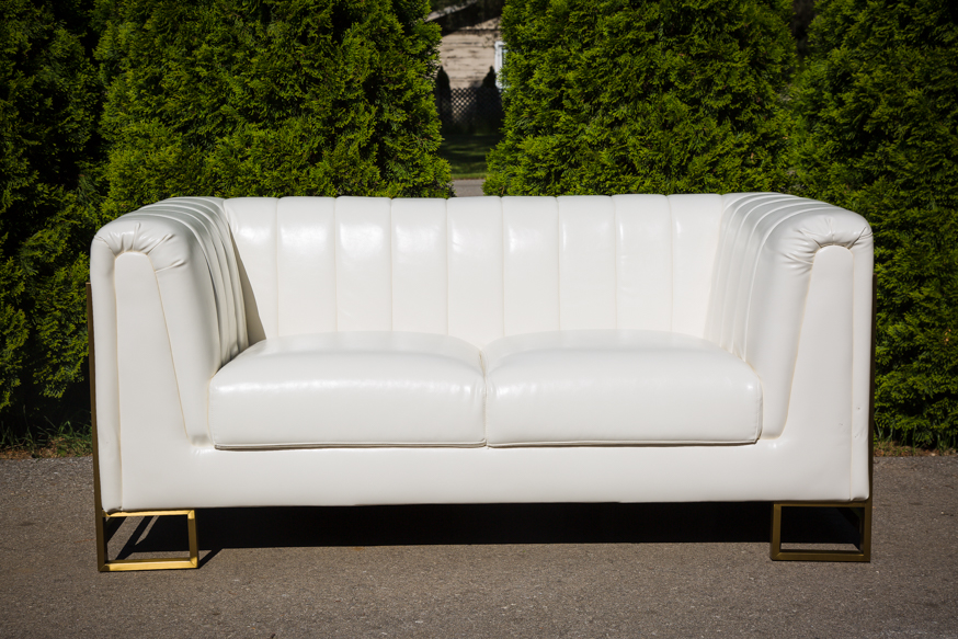 Contemporary white and gold Love seat