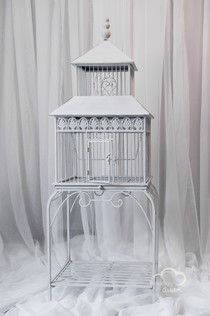 Standing White Bird Cage Card & Money Holder
