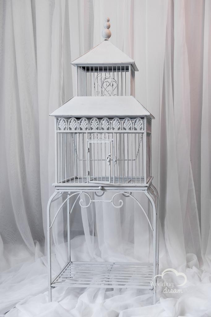 Standing White Bird Cage Card & Money Holder