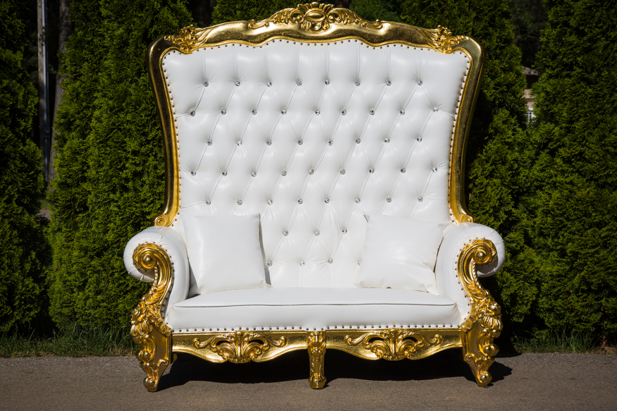 White and gold diamond studied love seat