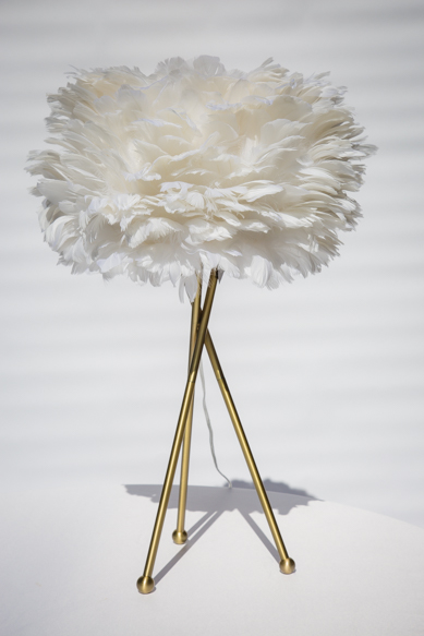 White and gold feather lamp