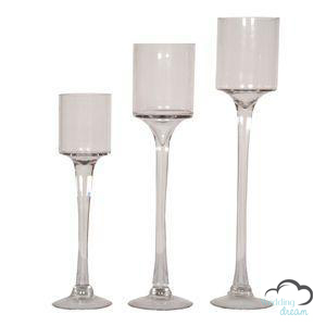 3 Sized Monet Stemmed Candle Vases