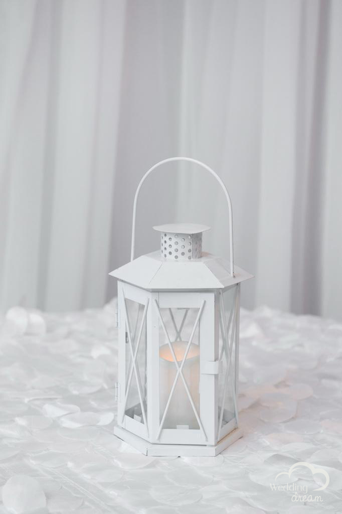 Small White Lantern Centrepiece with LED Candle