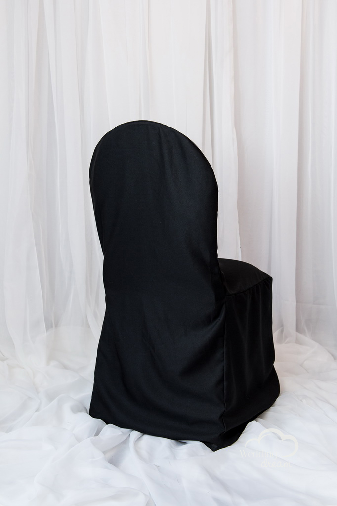 Black Polyester Banquet Chair Cover