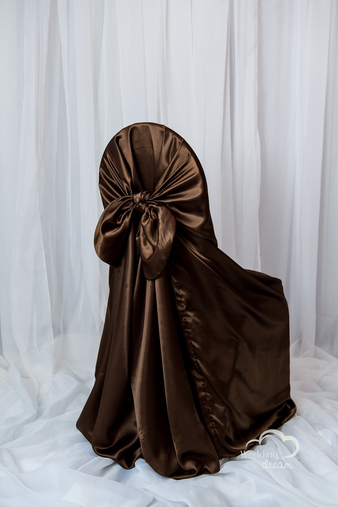 Brown Satin Tie Back Universal Chair Cover