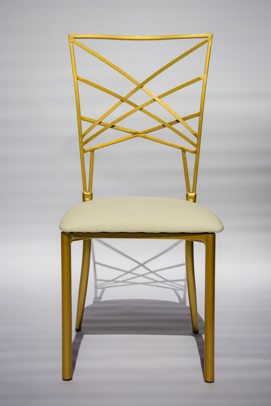 Gold chameleon chair with ivory pad