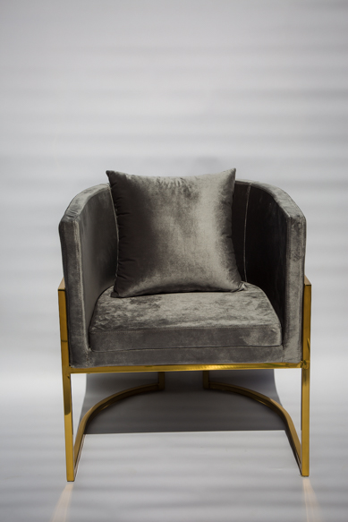 Grey and gold velvet single seater