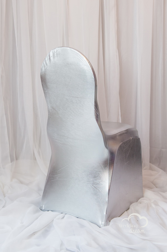 Metalic Silver Spandex Chair Cover