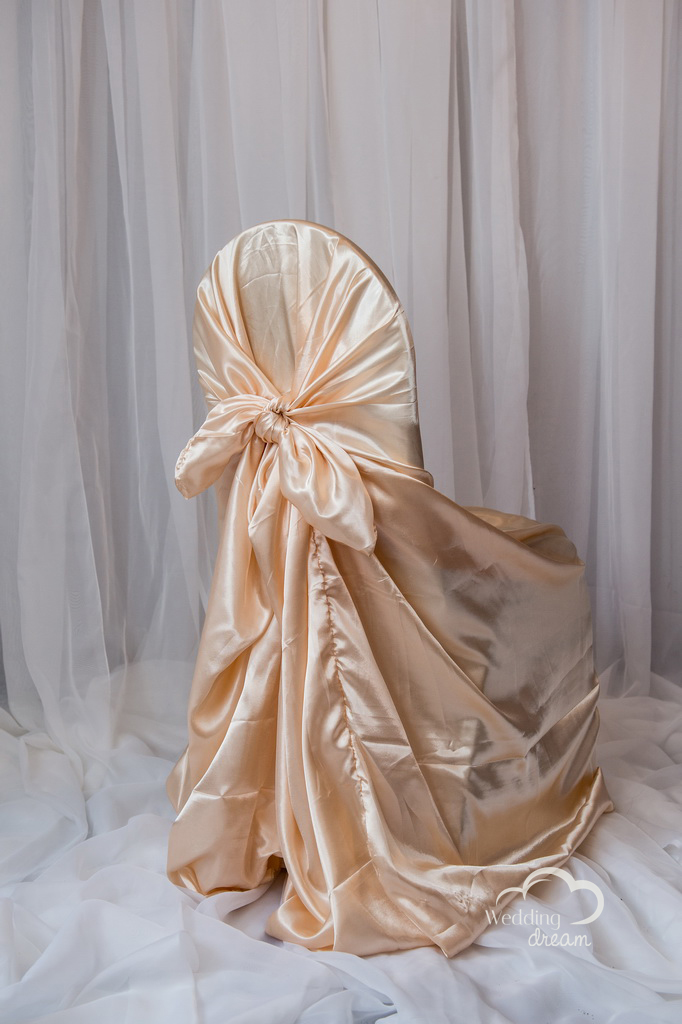 Peach Satin Tie Back Universal Chair Cover