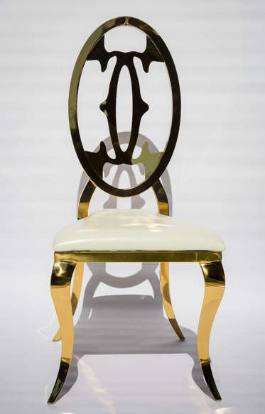 Tall gold stainless steel luxurious chairs