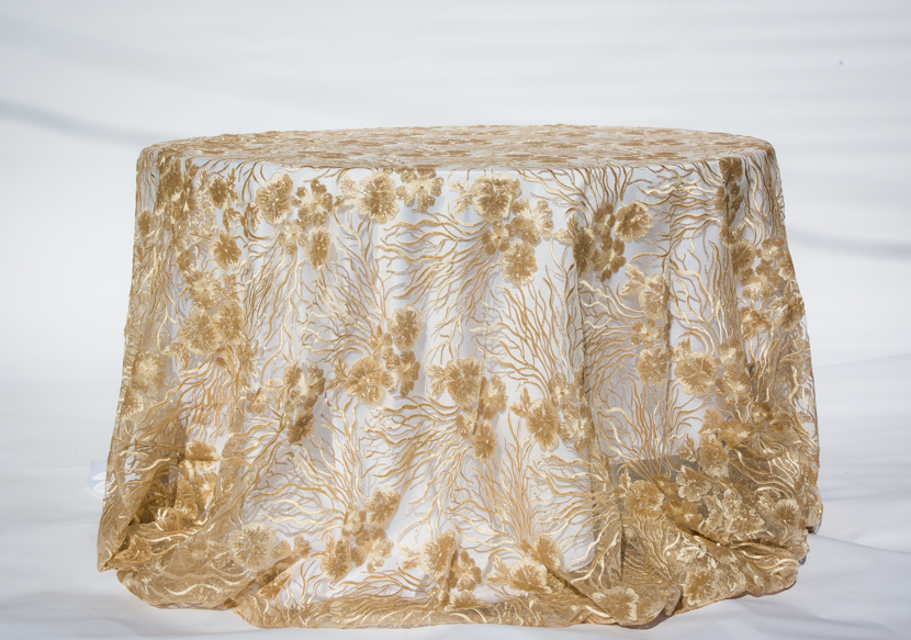 Champagne brocade lace overlay