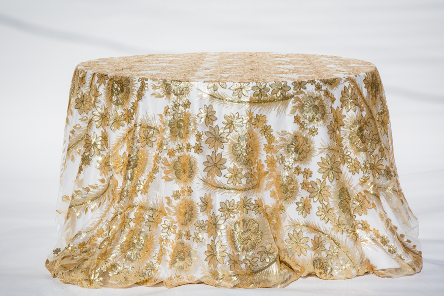 Gold Sequins brocade lace overlay