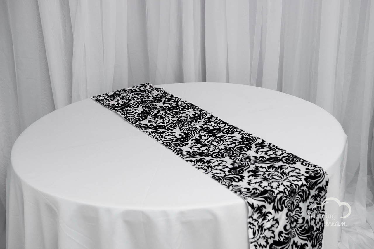 Black & White Damasked Flocked Table Runner