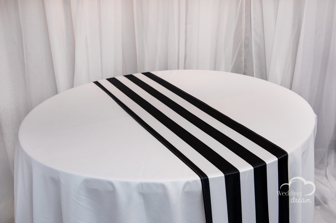 Black & White Striped Satin Table Runner