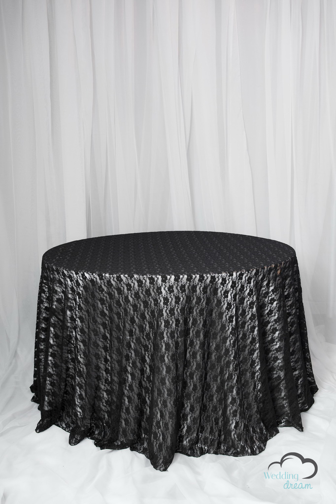 Black Lace Overlay Table Cloth