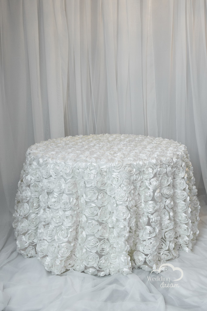 Ivory Flower Design Table Cloth Overlay