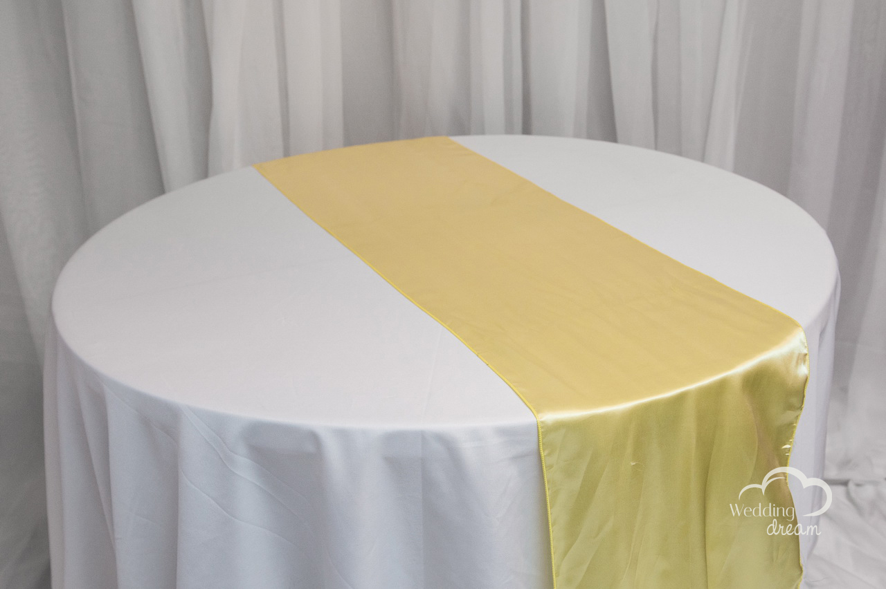 Pale Yellow Satin Table Runner