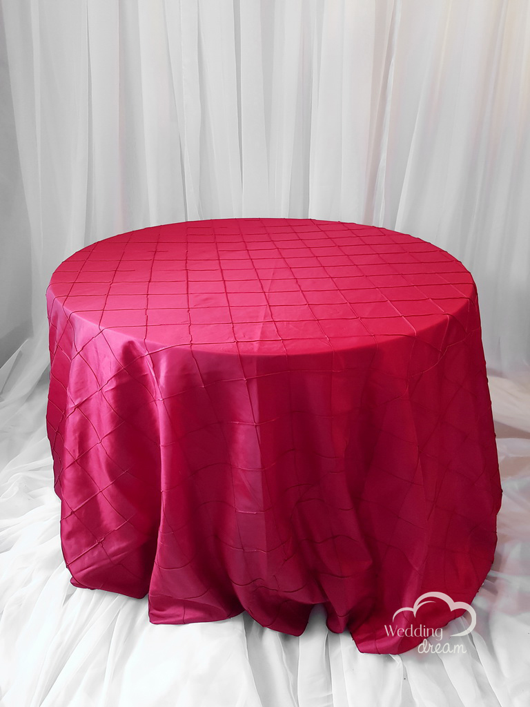 Red Pintuck Taffeta Table Cloth