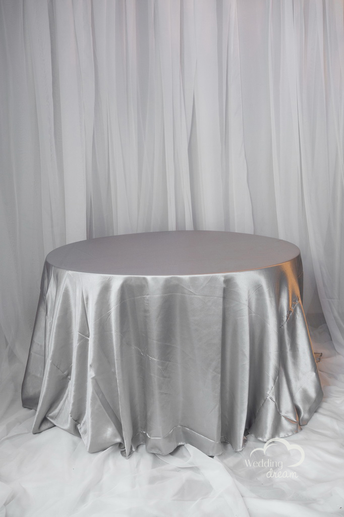 Silver Satin Table Cloth