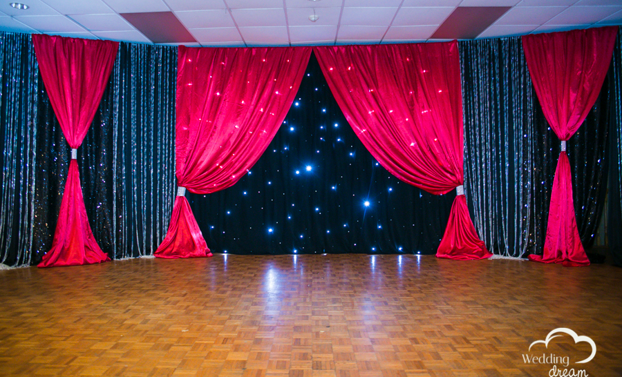 magic winter wedding decor kitchener wedding design rental red black lights
